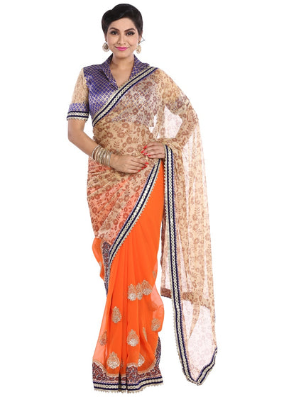 Chhabra 555 half and half georgette saree with floral foil printed beige pallu and zari embroidered orange pleats