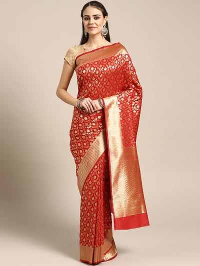 Chhabra 555 Kanjiwaram inspired silk saree with intricate zari weaving in a jaal pattern
