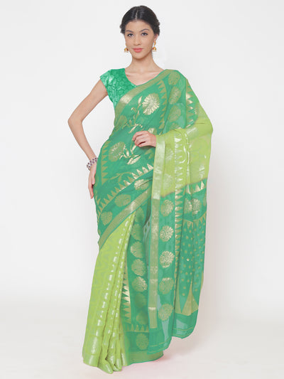 Chhabra 555 Mysore Georgette Light to Dark green ombre dyed saree with floral and temple weaved motifs