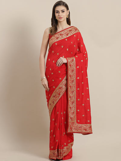 Chhabra 555 French Silk Embroidery Saree with Zari paisley motif border and Crystal embellisments
