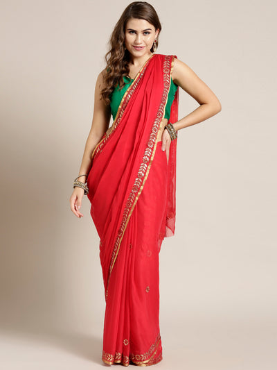 Chhabra 555 Red Chiffon Hand-dyed saree with Gota patti embroidered border