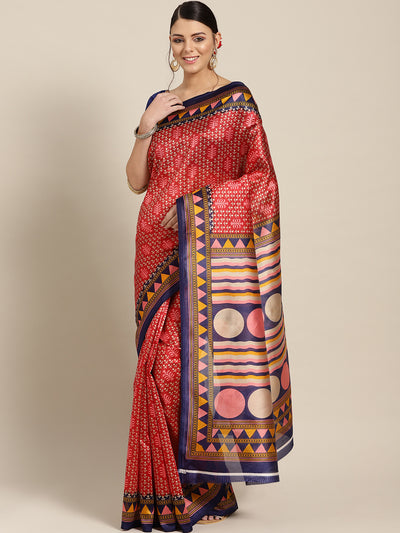 Chhabra 555 Silk Printed Saree with Patola Floral pattern and temple inspired border