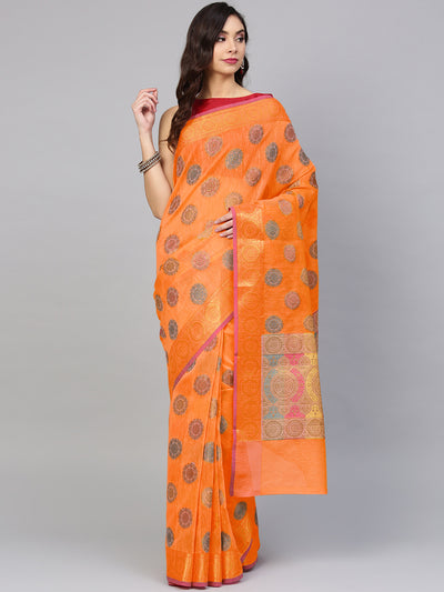 Chhabra 555 Orange Banarasi Chanderi Silk saree with Handloom Floral Meenakari motifs