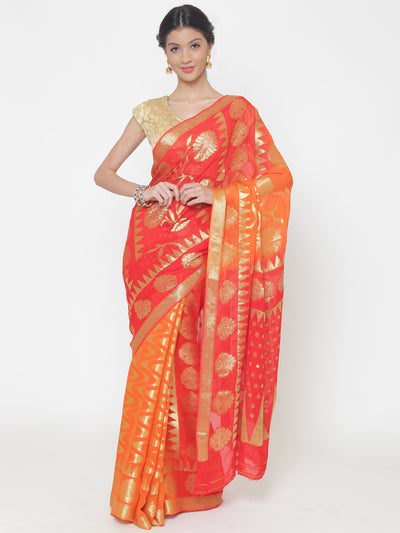 Chhabra 555 Mysore Georgette Orange to Red ombre dyed saree with floral and temple weaved motifs