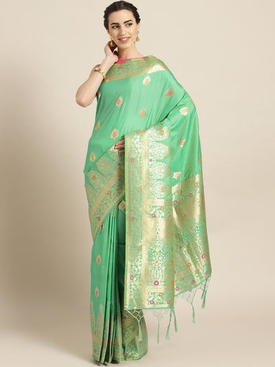 Chhabra 555 Green Banarasi Handloom Silk Saree with Floral Meenakari pattern and Jhalar