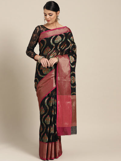 Chhabra 555 Black Chanderi Silk saree with Resham and Zari Meenakari weaving and Contrast Pink border