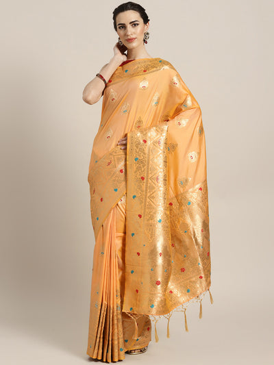 Chhabra 555 Gold Banarasi Handloom Silk Saree with Floral Meenakari pattern and Jhalar
