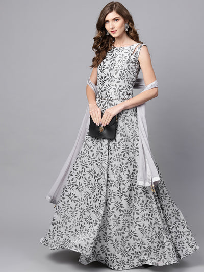 Chhabra 555 Made to Measure Grey Anarkali Kurta Gown with foil print and matching belt and dupatta