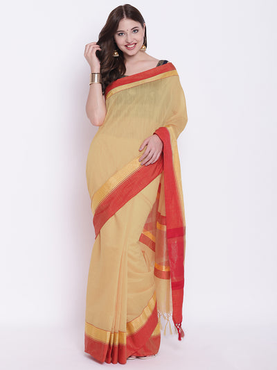 Chhabra 555 Beige Red Handloom Cotton Silk Saree with Contrast Gold Red Border and Tasseled edges