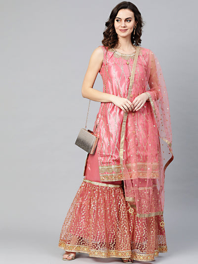 Chhabra 555 Made to Measure Pink Kurta Sharara Set With Sequin and Pearl embroidery and cut-work mirror embellished border