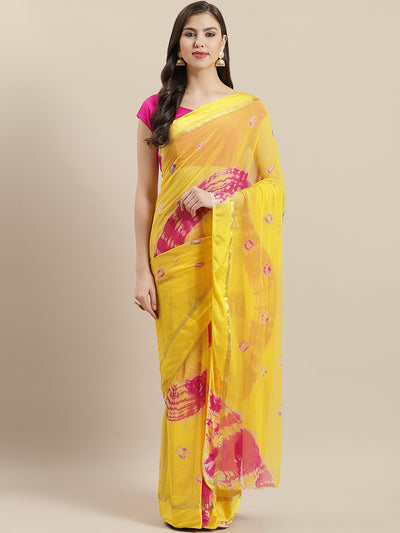 Chhabra 555 Georgette Leheriya Multicolor Saree with Golden zari border