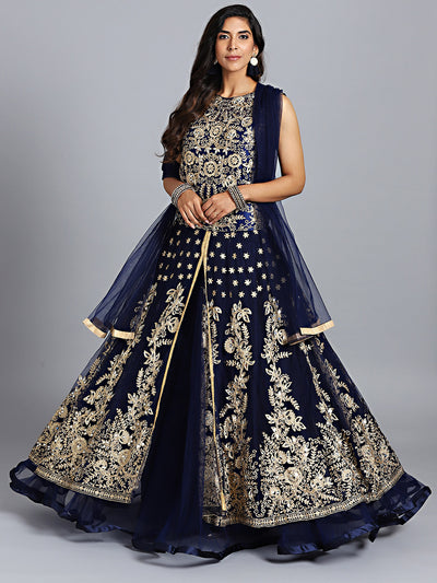 Chhabra 555 Navy Blue Net Heavy Embroidered Swarovski & Mirror Work Embellished Stitched Gown With Net Dupatta