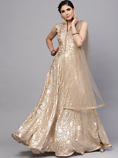 Chhabra 555 Made-to-Measure Gold Georgette Flared Gown with Self-pattern Floral Foil and Dupatta