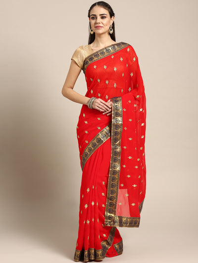 Chhabra 555 Georgette Embroidered Saree with brocade border and crystal embellishments