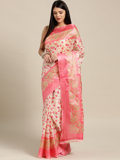 Chhabra 555 Beige pink Printed Bhagalpuri Saree with Multicolor Floral and Paisley motifs