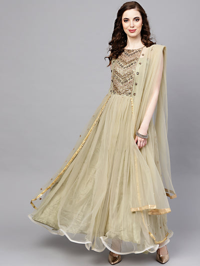 Chhabra 555 Made-to-measure Sea Green Layered Gown with Crystal Zari Embroidery and Dupatta