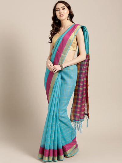 Chhabra 555 Turquoise Banarasi Chanderi Silk Saree with Checked Gharchola pattern & Jacquard blouse