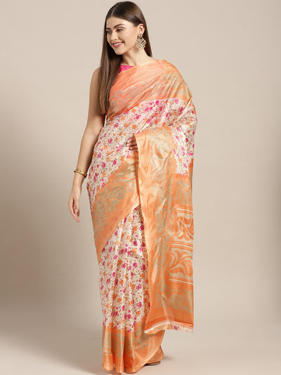 Chhabra 555 Beige Orange Printed Bhagalpuri Saree with Multicolor Floral and Paisley motifs
