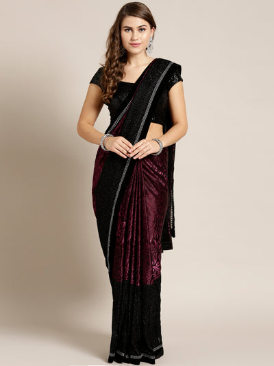Chhabra 555 Lycra Panelled Wine Black saree with Crystal Embellished border and Self Brocade Pattern
