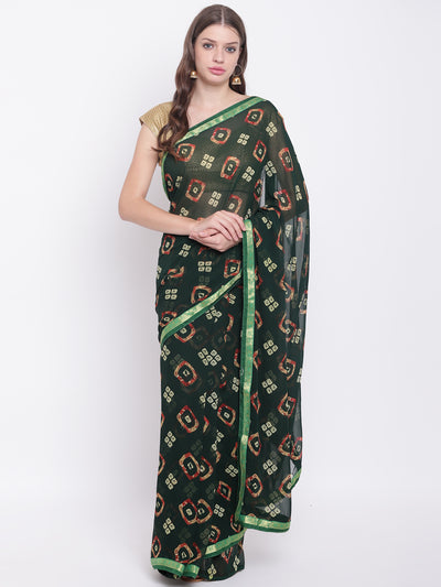 Chhabra 555 Green Georgette Leheriya saree with Quirky Colorful prints and woven border
