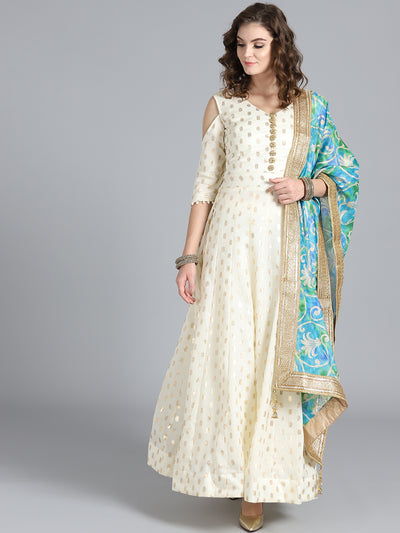 Chhabra 555 OffWhite & Turquoise Chanderi Silk Woven Design Embellished Anarkali Kurta Sets With Heavy Chanderi Dupatta