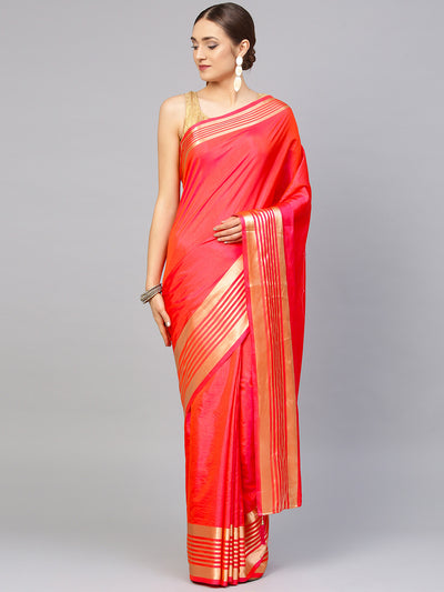 Chhabra 555 Pink Chanderi Silk Handloom, Hand Woven,Floral, Zari Weav Border Saree with Contrast Brocade Blouse
