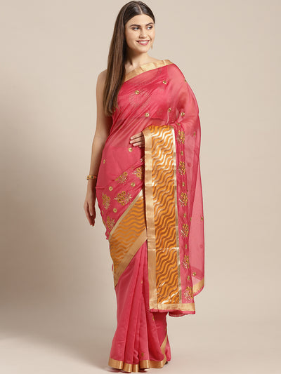 Chhabra 555 Pink Mustard Panelled saree with Resham Embroidered Floral Motifs
