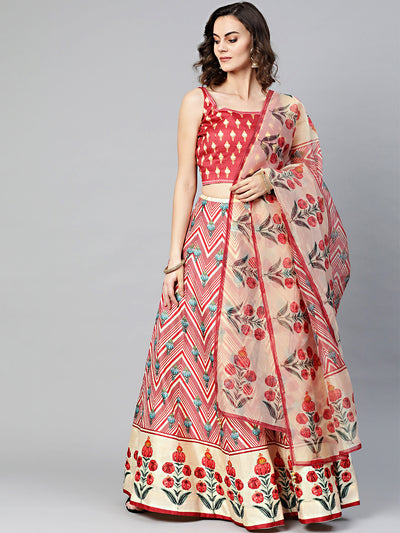 Chhabra 555 Made-to-Measure Digital Print Crop Top Set with Geometric Floral print and Crystal Embellishments