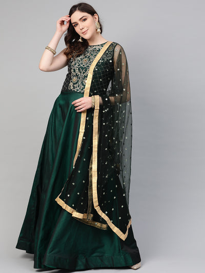 Chhabra 555 Made to Measure Mirror Embellished Cocktail gown with Sequin embroidered Dupatta