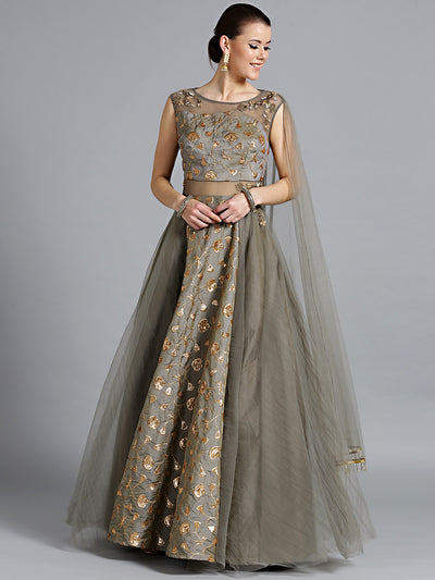 Chhabra 555 Made-to-Measure Grey Embellished Gown with Sequin Zari embroidery and Attached Dupatta