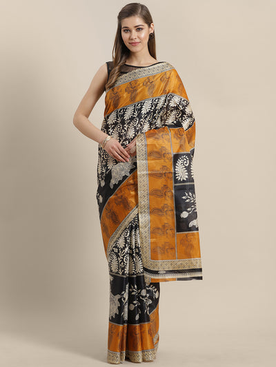 Chhabra 555 French Tussar Silk printed Saree with Goemetrical Colorblocking Ethnic Peacock Design