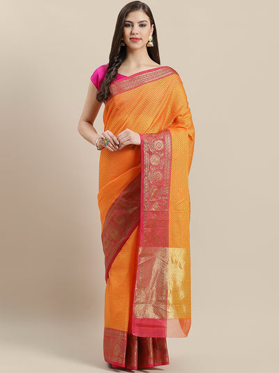 Chhabra 555 Kanjiwaram inspired silk saree with intricate resham weaving and contrast woven border