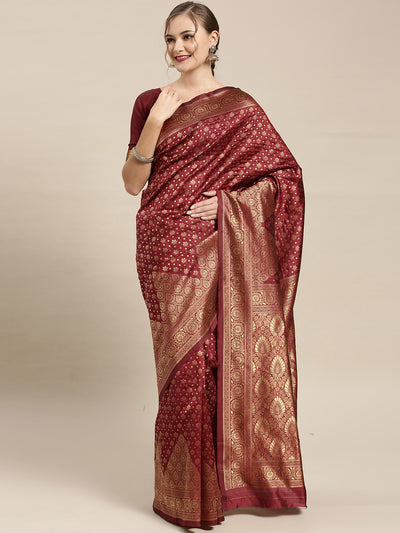 Chhabra 555 Kanjiwaram inspired Silk saree with Oxidised Zari Weaving in a Paisley Mughal pattern