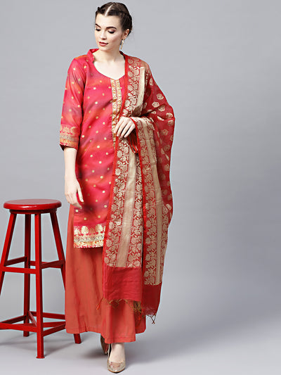Chhabra 555 Coral Banarasi Handloom Dress Material with Zari Weaving and Tassled dupatta