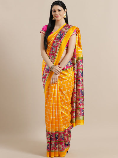 Chhabra 555 Checkered Bhagalpuri Silk Printed Saree with Peacock and Elephant animal Digital Pattern
