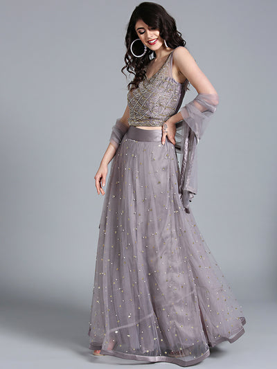 Chhabra 555 Grey Net Crop top Made-To-Measure Lehenga With Pearl, Sequin, Cut-dana embellishments