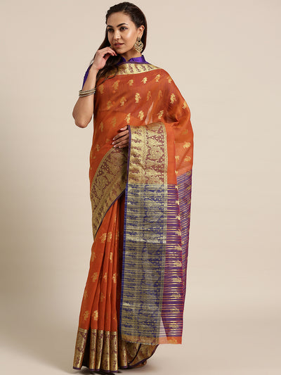 Chhabra 555 Orange Banarasi Handloom Silk Saree woven with figure motifs and bridal scenes