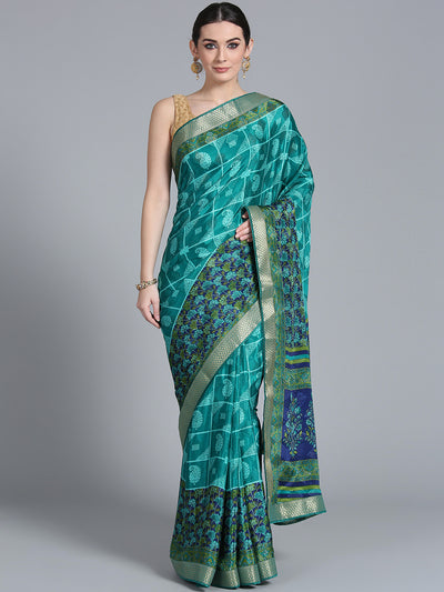 Chhabra 555 Turquoise Blue Crepe Floral Print Saree with Zari Woven Border