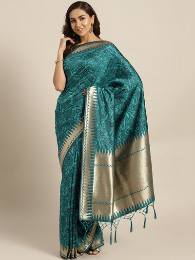 Chhabra 555 Teal Banarasi Handloom Silk Saree with Temple Zari pattern and Jhalar