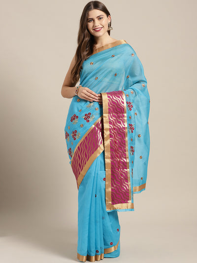 Chhabra 555 Turquoise Pink Panelled saree with Resham Embroidered Floral Motifs