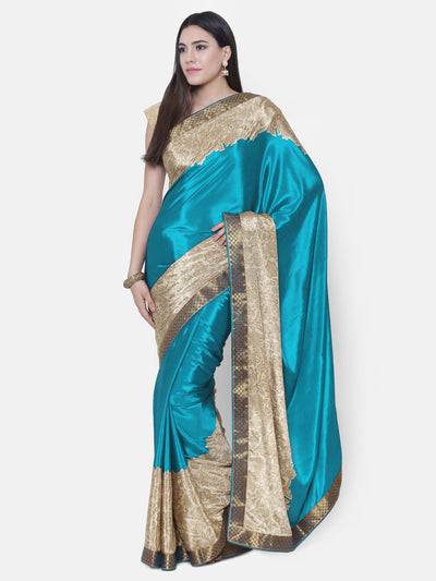 Chhabra 555 Turquoise Satin Silk Saree with floral print and a woven Border