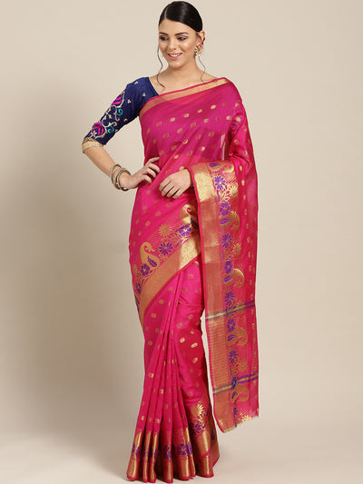 Chhabra 555 Pink Chanderi Silk saree with Zari and Meenakari weaving in a paisley pattern