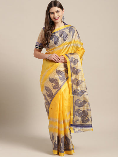 Chhabra 555 Yellow Printed Bhagalpuri Saree with Traditional Patola Peacock patterns