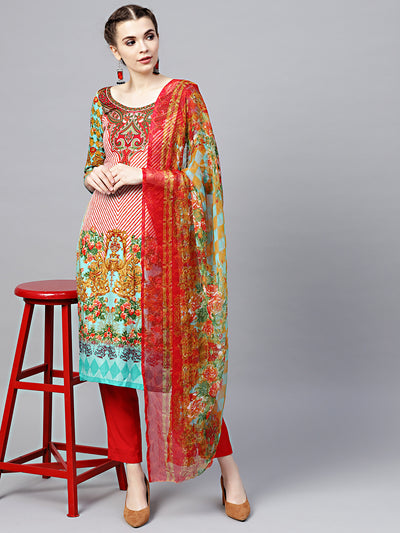 Chhabra 555 Red Teal Floral Printed Crepe Made-to-Measure Kurta Set with Chiffon Dupatta