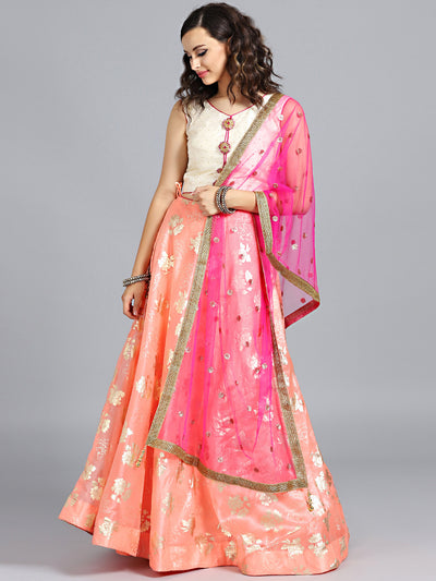 Chhabra 555 Off White & Orange Embellished Foil Printed Tissue-fabric Stitched Lehenga Choli With Heavy Net Dupatta