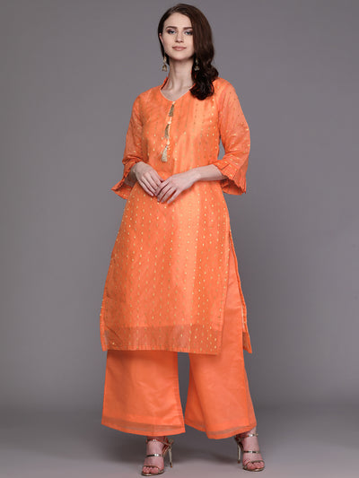 Chhabra 555 Made to Measure Kurta Pallazo Set With Embossed Zari Weave and Stylized Buttons