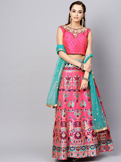 Chhabra 555 Made-to-Measure Embellished Silk Croptop With Woven Banarasi Lehenga