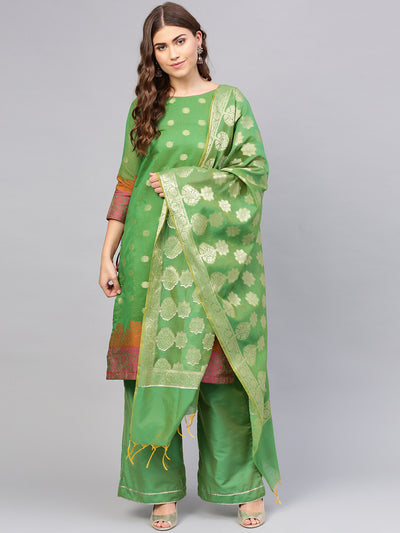 Chhabra 555 Green Banarasi Handloom Dress Material with Zari Resham Weaving and Tassled dupatta