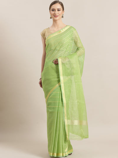 Chhabra 555 Chanderi Silk saree with intricate Zari weaving in a striped pattern