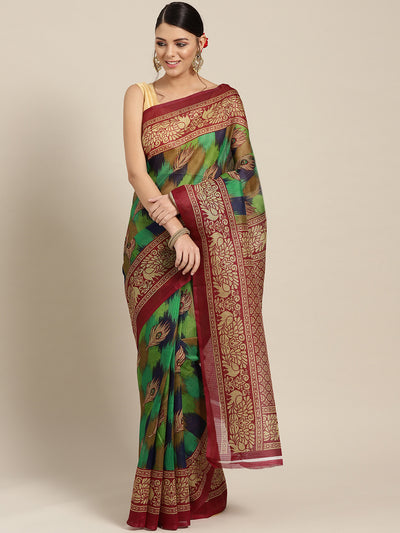 Chhabra 555 Chanderi Silk Printed Saree with Patola Animal and Floral motifs
